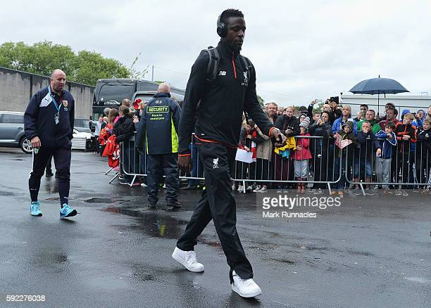 Divock Origi of Liverpool arrives at the stadium during the Premier League match between Burnley and Liverpool at Turf Moor on August 20 2016 in...