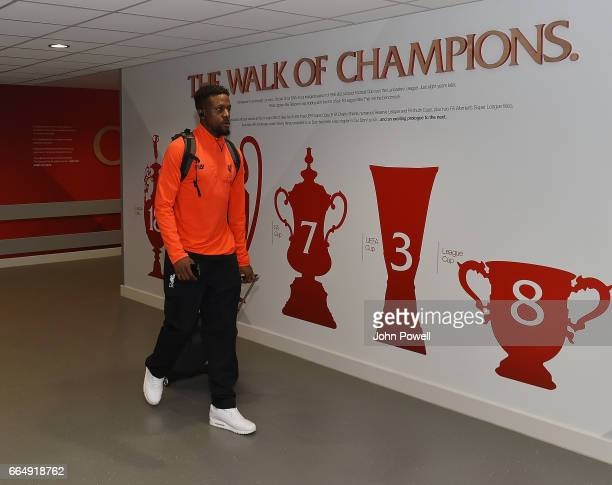 Divock Origi of Liverpool arrives before the Premier League match between Liverpool and AFC Bournemouth at Anfield on April 5 2017 in Liverpool...