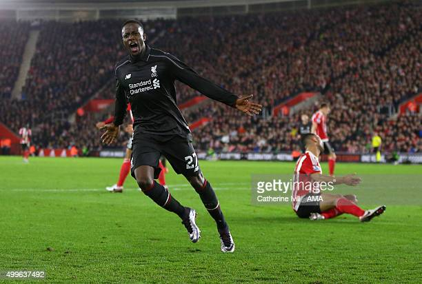 Divock Origi of Liverpool celebrates after he scores to make it 14 during the Capital One Cup Quarter Final between Southampton and Liverpool at St...