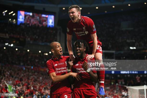 Divock Origi of Liverpool celebrates after scoring a goal to make it 0-2 during the UEFA Champions League Final between Tottenham Hotspur and...