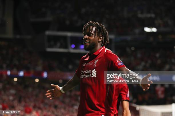 Divock Origi of Liverpool celebrates after scoring a goal to make it 02 during the UEFA Champions League Final between Tottenham Hotspur and...