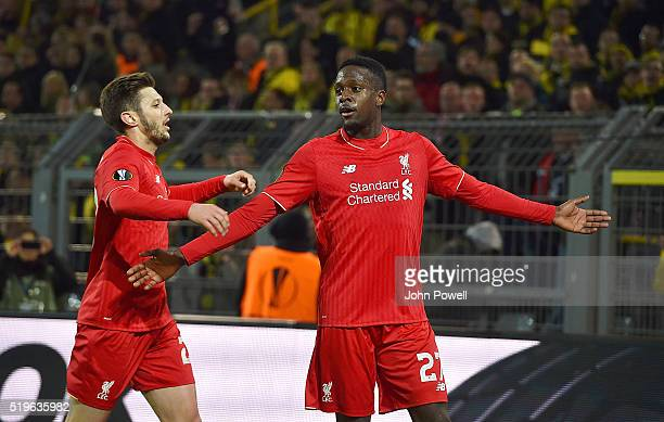 Divock Origi of Liverpool celebrates after scoring the opening goal during the UEFA Europa League Quarter Final First Leg match between Borussia...