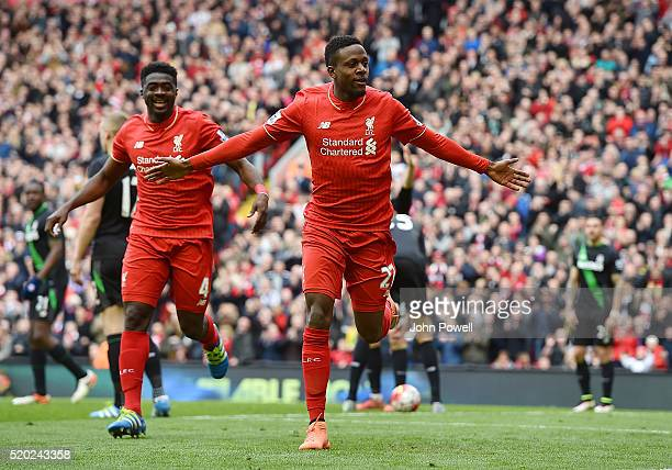 Divock Origi of Liverpool celebrates after scoring the third for Liverpool during the Barclays Premier League match between Liverpool and Stoke City...