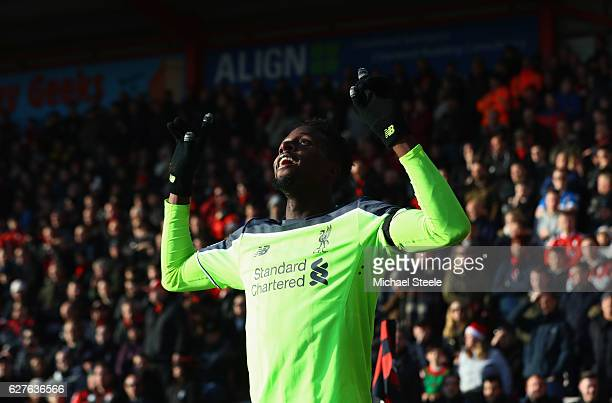 Divock Origi of Liverpool celebrates as he scores their second goal during the Premier League match between AFC Bournemouth and Liverpool at Vitality...