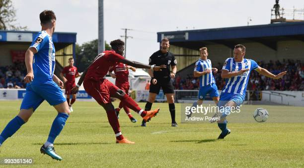 Divock Origi of Liverpool comes close during the Preseason friendly between Chester FC and Liverpool on July 7 2018 in Chester United Kingdom