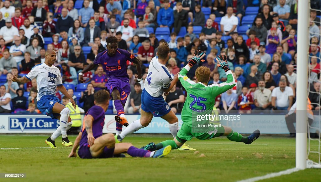 Divock Origi of Liverpool comes close to scoring during the pre-season friendly match between Tranmere Rovers and Liverpool at Prenton Park on July 10, 2018 in Birkenhead, England.
