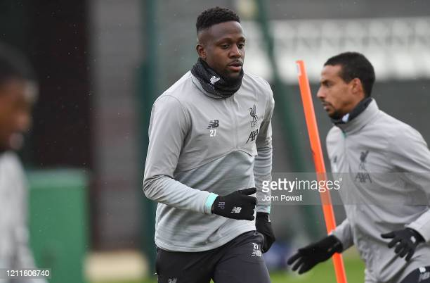 Divock Origi of Liverpool during a training session at Melwood on March 10 2020 in Liverpool United Kingdom Liverpool FC will face Atletico Madrid in...