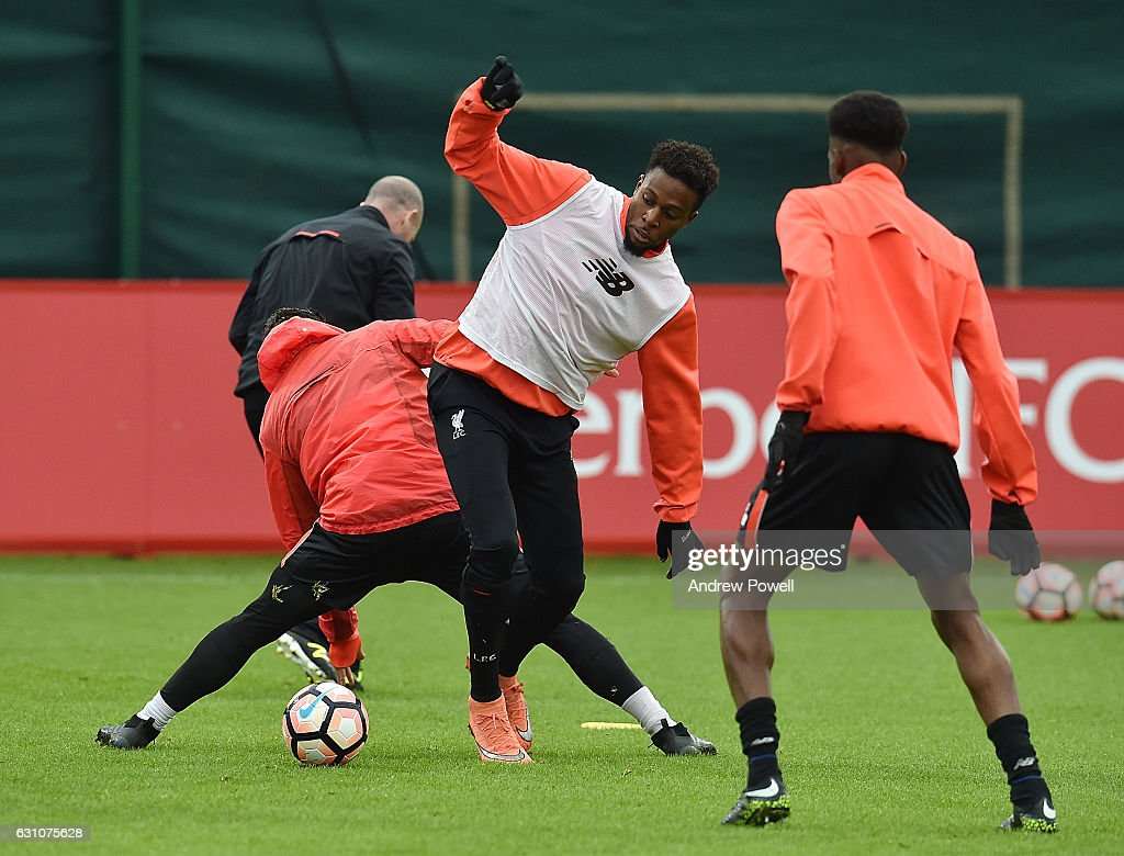 Divock Origi of Liverpool during a training session at Melwood Training Ground on January 6, 2017 in Liverpool, England.