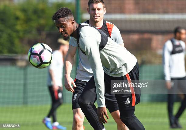 Divock Origi of Liverpool during a training session at Melwood Training Ground on March 15 2017 in Liverpool England
