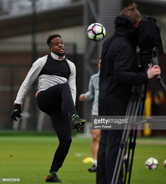 Divock Origi of Liverpool during a training session at Melwood Training Ground on March 17 2017 in Liverpool England