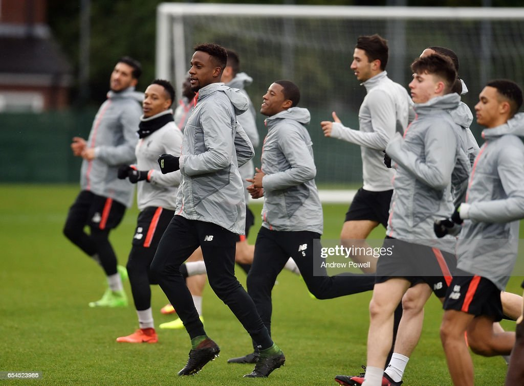 Divock Origi of Liverpool during a training session at Melwood Training Ground on March 17, 2017 in Liverpool, England.
