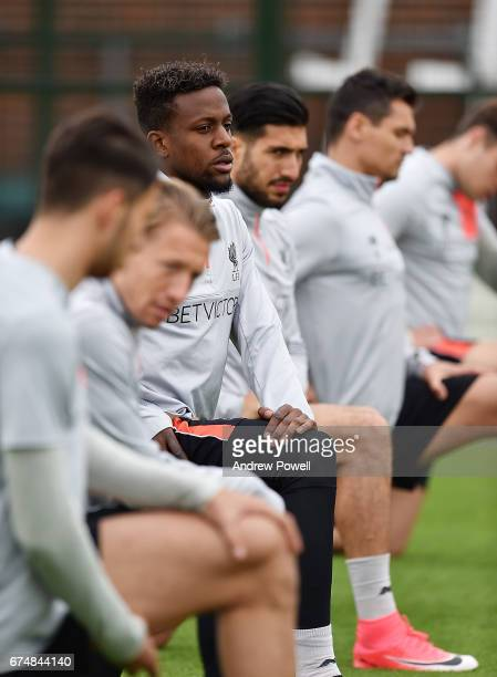 Divock Origi of Liverpool during a training session at Melwood Training Ground on April 29 2017 in Liverpool England