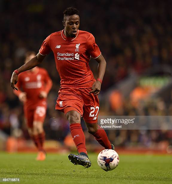 Divock Origi of Liverpool during the Capital One Cup Fourth Round match between Liverpool and AFC Bournemouth at Anfield on October 28 2015 in...