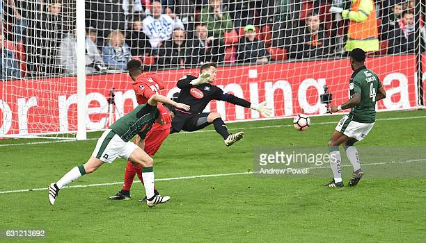 Divock Origi of Liverpool during the Emirates FA Cup Third Round match between Liverpool and Plymouth Argyle at Anfield on January 8 2017 in...