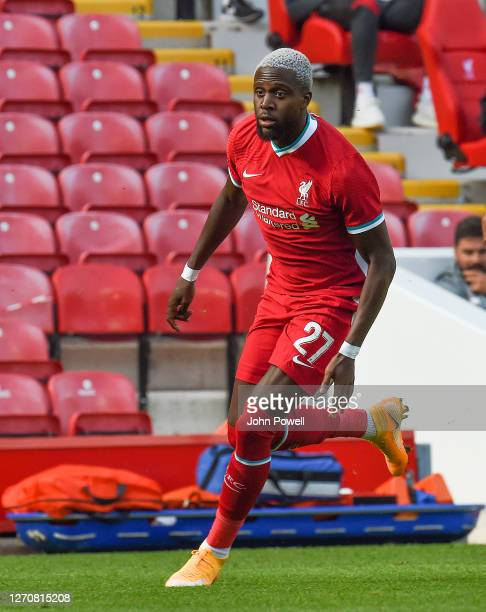 Divock Origi of Liverpool during the game at Anfield on September 05 2020 in Liverpool England