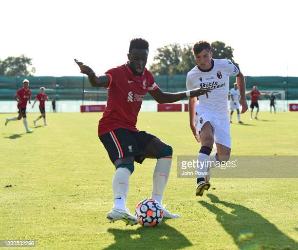 Divock Origi of Liverpool during the Pre Season match between Liverpool and Bologna on August 05, 2021 in Evian-les-Bains, France.