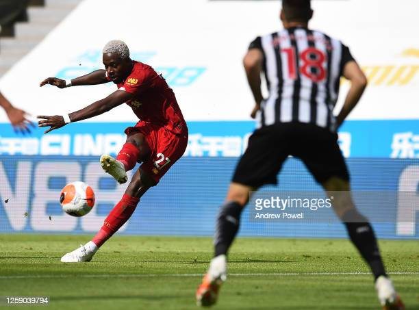 Divock Origi of Liverpool during the Premier League match between Newcastle United and Liverpool FC at St James Park on July 26 2020 in Newcastle...
