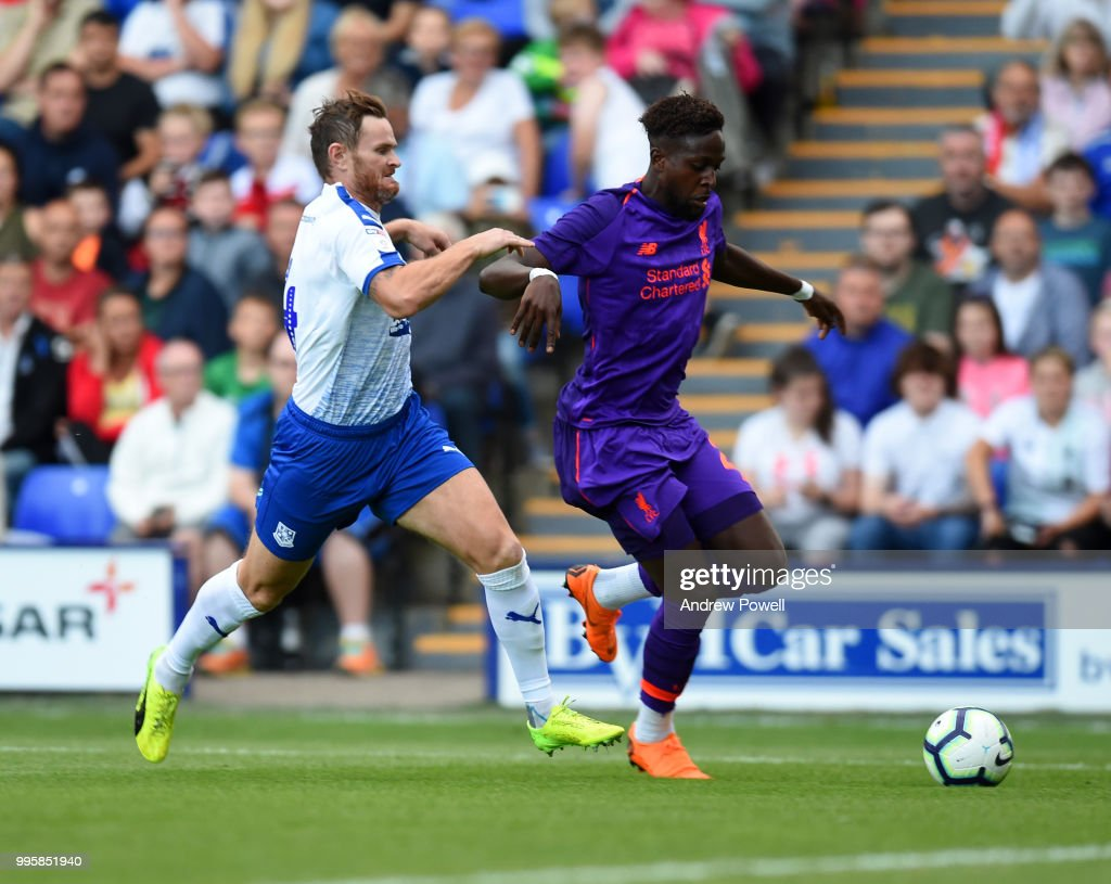 Divock Origi of Liverpool during the pre-season friendly match between Tranmere Rovers and Liverpool at Prenton Park on July 10, 2018 in Birkenhead, England.