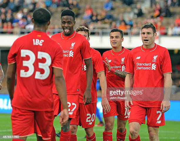 Divock Origi of Liverpool FC celebrates scoring the first goal during the pre season friendly match at Olympic Stadium on August 1 2015 in Helsinki...