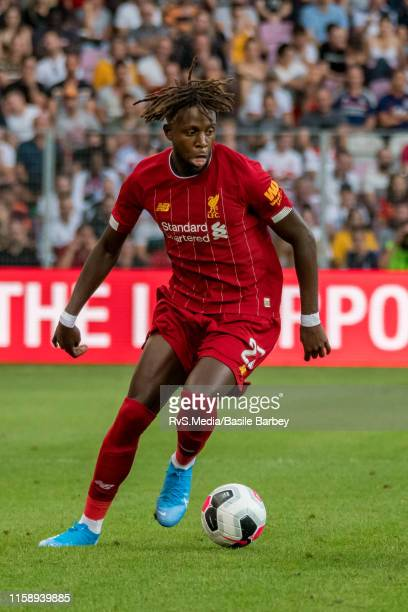 Divock Origi of Liverpool FC in action during the Pre-Season Friendly match between Liverpool FC and Olympique Lyonnais at Stade de Geneve on July...