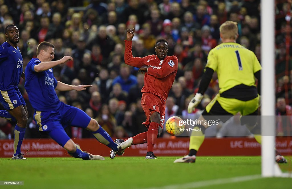 Divock Origi of Liverpool has a shot during the Barclays Premier League match between Liverpool and Leicester City at Anfield on December 26, 2015 in Liverpool, England.