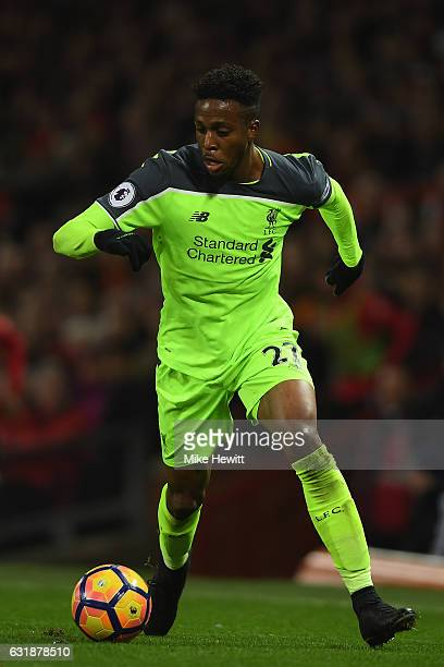 Divock Origi of Liverpool in action during the Premier League match between Manchester United and Liverpool at Old Trafford on January 15 2017 in...