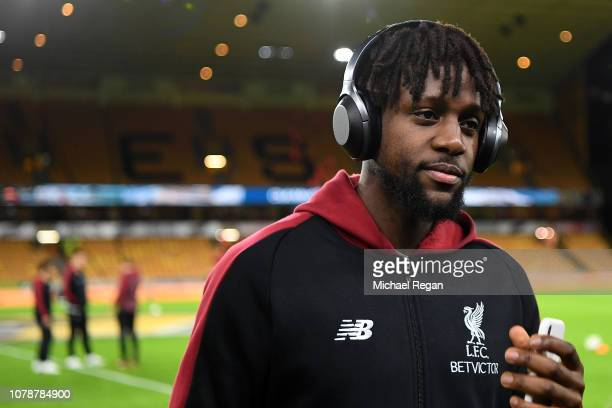 Divock Origi of Liverpool inspects the pitch prior to the Emirates FA Cup Third Round match between Wolverhampton Wanderers and Liverpool at Molineux...