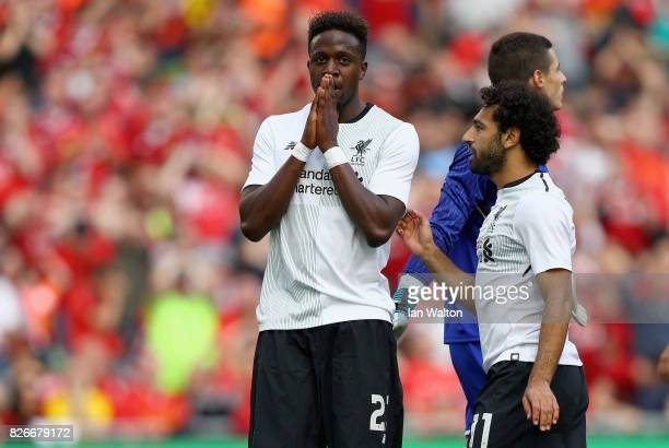 Divock Origi of Liverpool reacts during the Pre Season Friendly match between Liverpool and Athletic Club at Aviva Stadium on August 5 2017 in Dublin...
