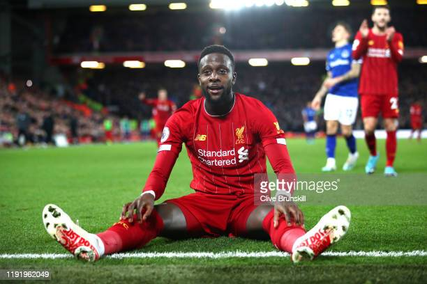 Divock Origi of Liverpool reacts during the Premier League match between Liverpool FC and Everton FC at Anfield on December 04 2019 in Liverpool...
