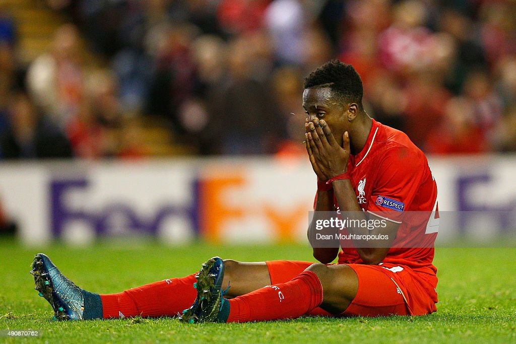 Divock Origi of Liverpool reacts during the UEFA Europa League group B match between Liverpool FC and FC Sion at Anfield on October 1, 2015 in Liverpool, United Kingdom.