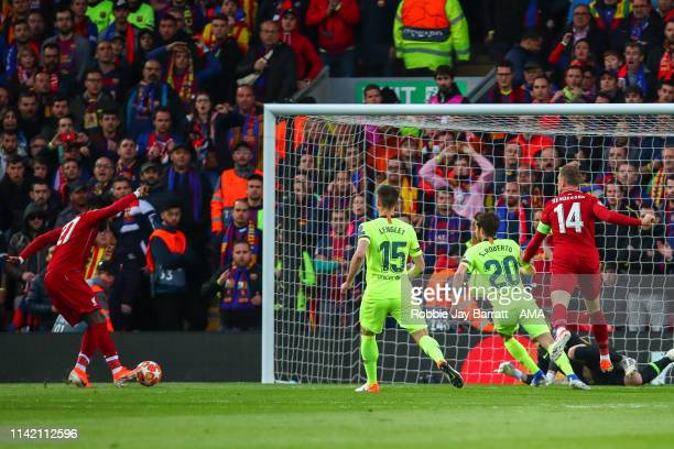 Divock Origi of Liverpool scores a goal to make it 10 during the UEFA Champions League Semi Final second leg match between Liverpool and Barcelona at...