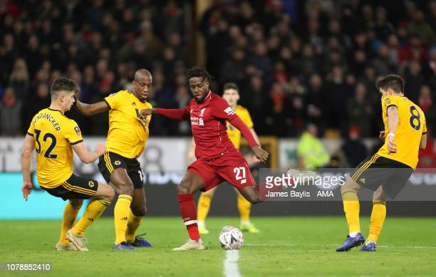 Divock Origi of Liverpool scores a goal to make it 11 during the Emirates FA Cup Third Round match between Wolverhampton Wanderers and Liverpool at...