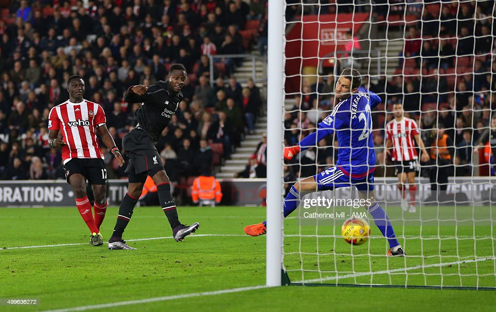 Divock Origi of Liverpool scores a goal to make it 1-6 during the Capital One Cup Quarter Final between Southampton and Liverpool at St Mary's Stadium on December 2, 2015 in Southampton, England.