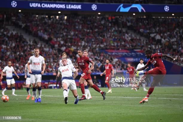 Divock Origi of Liverpool scores his sides second goal during the UEFA Champions League Final between Tottenham Hotspur and Liverpool at Estadio...