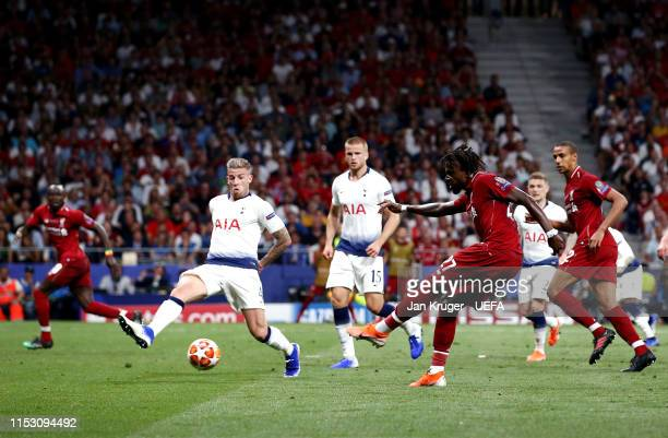 Divock Origi of Liverpool scores his sides second goal during the UEFA Champions League Final between Tottenham Hotspur and Liverpool at Estadio...