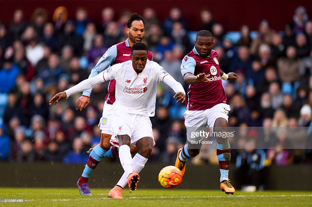 Divock Origi of Liverpool scores his team's fourth goal during the Barclays Premier League match between Aston Villa and Liverpool at Villa Park on February 14, 2016 in Birmingham, England.