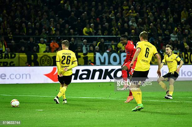 Divock Origi of Liverpool scores their first goal during the UEFA Europa League quarter final first leg match between Borussia Dortmund and Liverpool...
