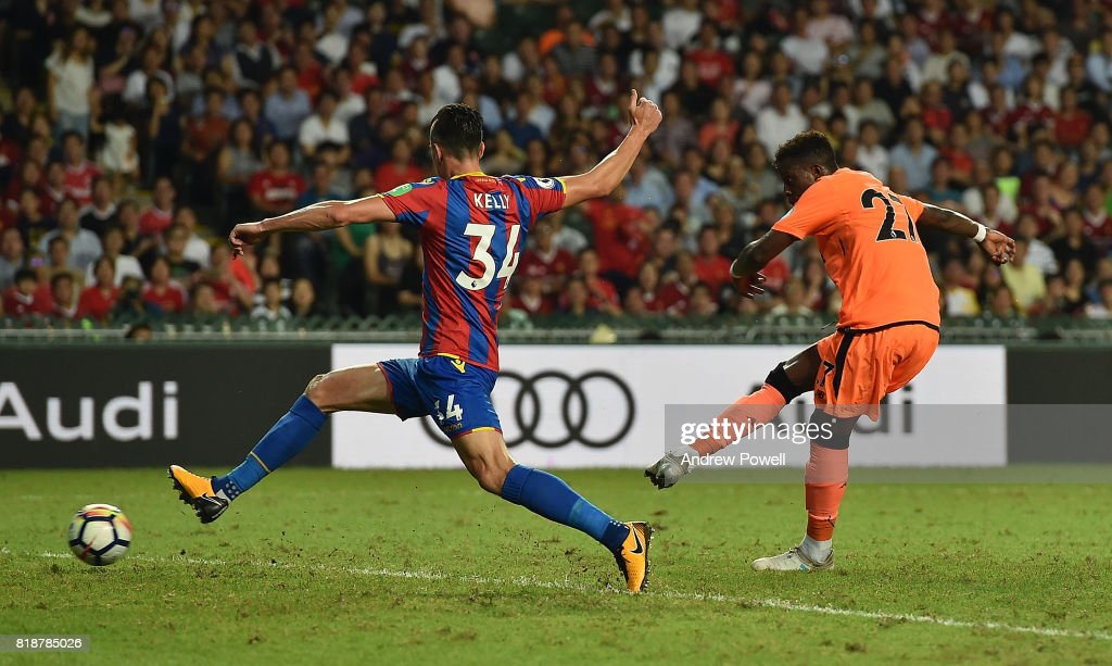 Divock Origi of Liverpool scoring the second goal during the Premier League Asia Trophy match between Liverpool FC and Crystal Palace on July 19, 2017 in Hong Kong Stadium, Hong Kong.