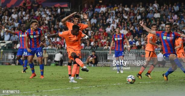 Divock Origi of Liverpool scoring the second goal during the Premier League Asia Trophy match between Liverpool FC and Crystal Palace on July 19 2017...