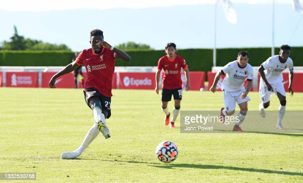 Divock Origi of Liverpool taking a penalty during the Pre Season match between Liverpool and Bologna on August 05, 2021 in Evian-les-Bains, France.