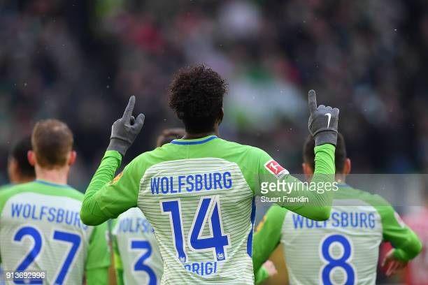 Divock Origi of Wolfsburg celebrates after he score a goal to make it 10 during the Bundesliga match between VfL Wolfsburg and VfB Stuttgart at...