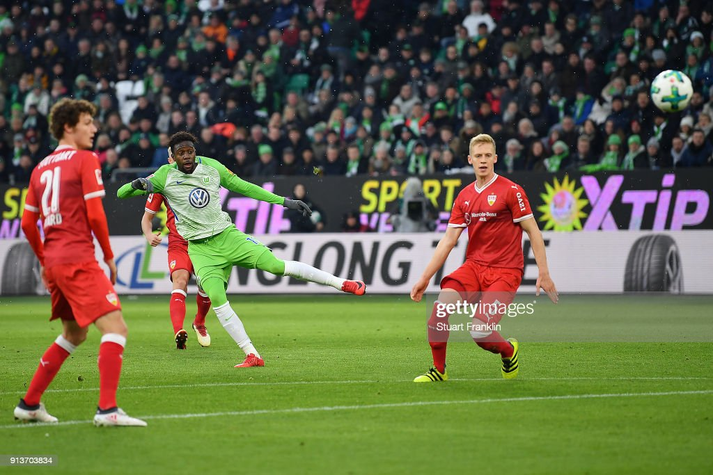 Divock Origi of Wolfsburg heads a goal to make it 1:0 during the Bundesliga match between VfL Wolfsburg and VfB Stuttgart at Volkswagen Arena on February 3, 2018 in Wolfsburg, Germany.