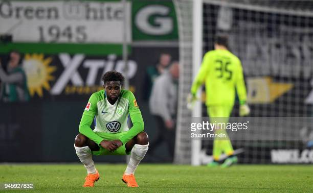 Divock Origi of Wolfsburg looks dejected after the Bundesliga match between VfL Wolfsburg and FC Augsburg at Volkswagen Arena on April 13 2018 in...