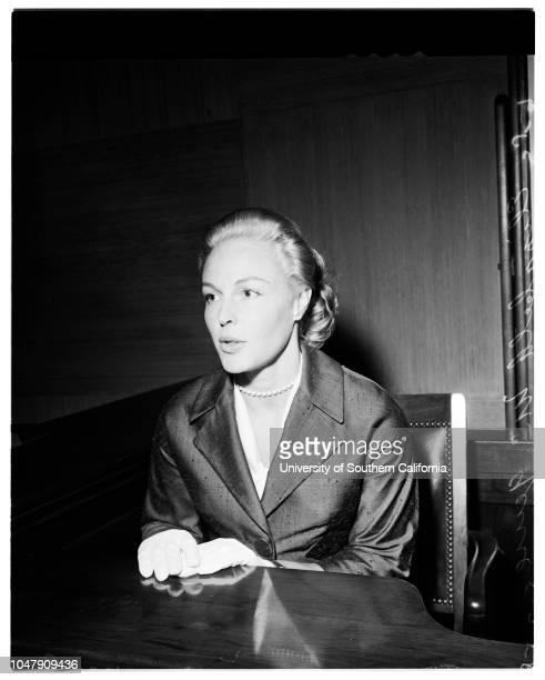 Divorce case 2 May 1958 Elizabeth McGuireCaption slip reads 'Photographer Snow Date 0502 Reporter Garner Assignment Divorce 59/60 Elizabeth McGuire...