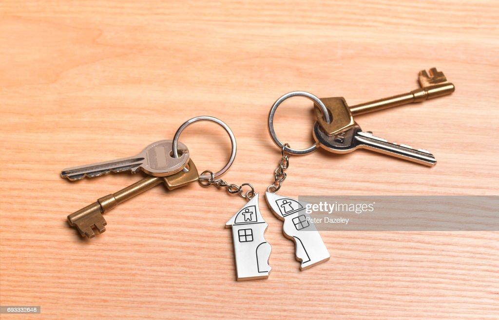 Divorce Keys On Table Stock Photo
