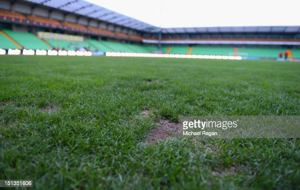 Divot on the pitch during the England training session at Zimbru Stadium on September 6, 2012 in Chisinau, Moldova.