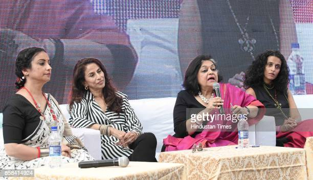 Divya Dutta Shobha De Alka Pande Amrita Narayanan during the inaugural session of the 'Khuswant Singh Literary Festival2017' on October 6 2017 in...
