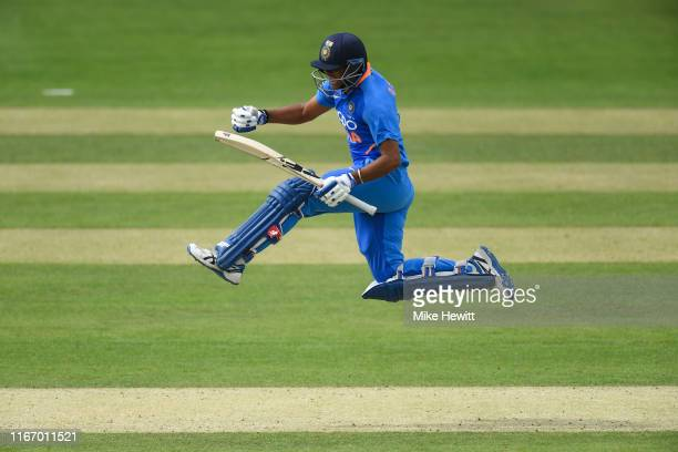 Divyansh Saxena of India U19s celebrates after reaching his century during an Under 19 Tri-Series match between England U19 and India U19 at the...