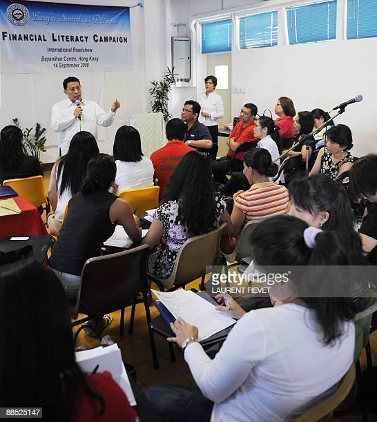 Diwa Guinigundo deputy governor of Bangko Sentral ng Pilipinas addresses locally employed Filipina workers during the launch of the international leg...