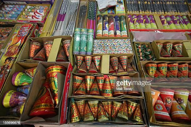 Diwali crackers at old Delhi market